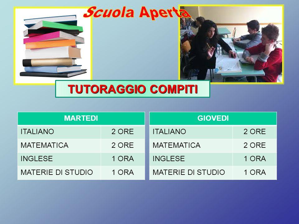 Scuola Aperta TUTORAGGIO COMPITI MARTEDI ITALIANO 2 ORE MATEMATICA