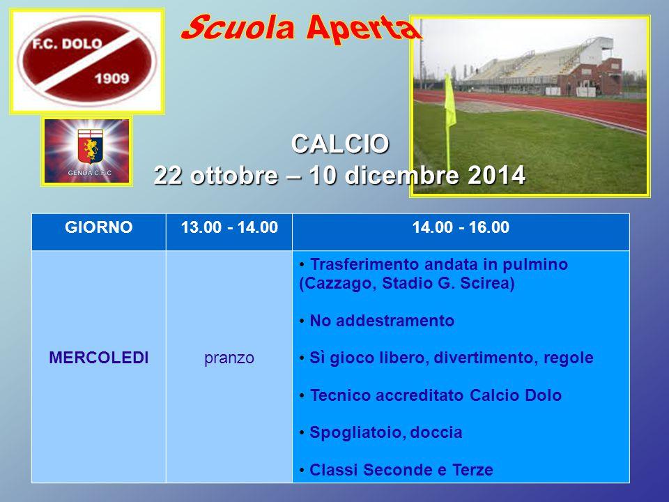 Scuola Aperta CALCIO 22 ottobre – 10 dicembre 2014 GIORNO