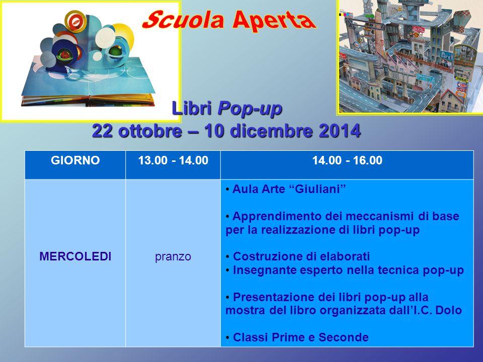 Scuola Aperta Libri Pop-up 22 ottobre – 10 dicembre 2014 GIORNO