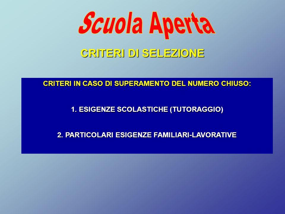 Scuola Aperta CRITERI DI SELEZIONE