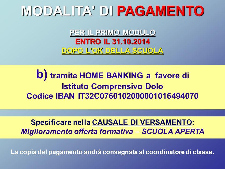 MODALITA DI PAGAMENTO b) tramite HOME BANKING a favore di