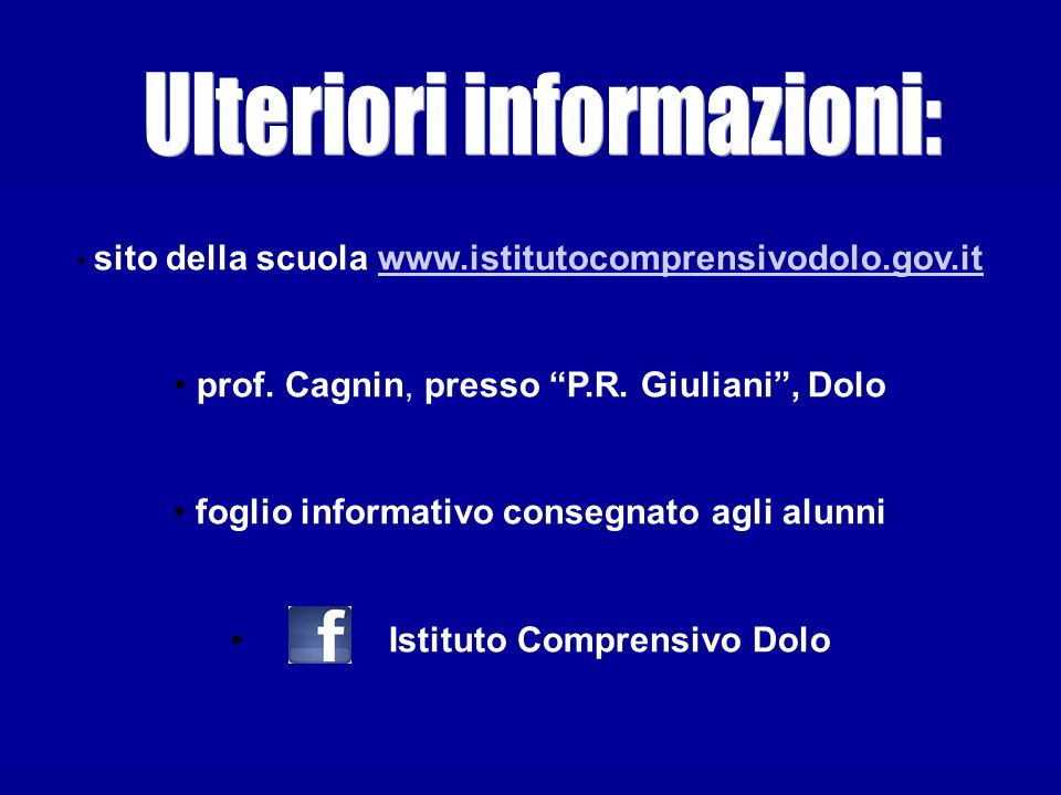 Ulteriori informazioni:
