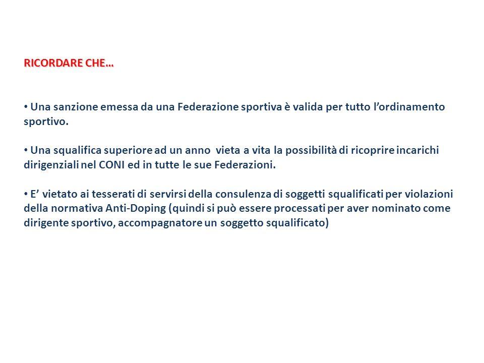 RICORDARE CHE…Una sanzione emessa da una Federazione sportiva è valida per tutto l'ordinamento sportivo.