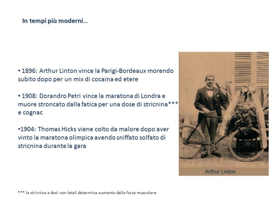 In tempi più moderni…1896: Arthur Linton vince la Parigi-Bordeaux morendo subito dopo per un mix di cocaina ed etere.