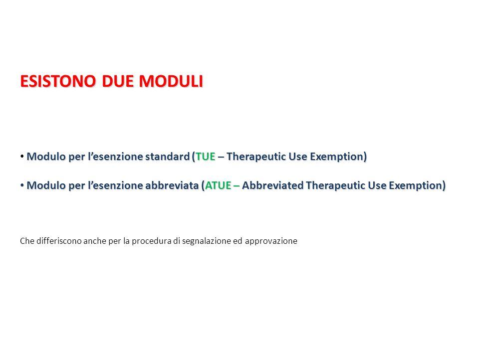 ESISTONO DUE MODULI Modulo per l'esenzione standard (TUE – Therapeutic Use Exemption)