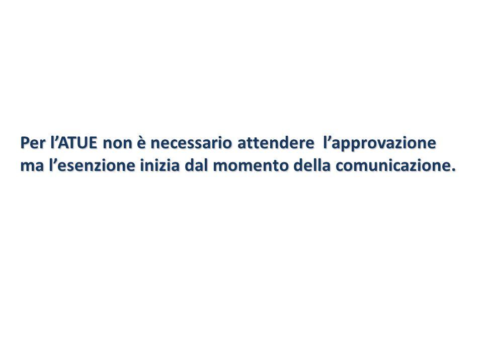 Per l'ATUE non è necessario attendere l'approvazione ma l'esenzione inizia dal momento della comunicazione.