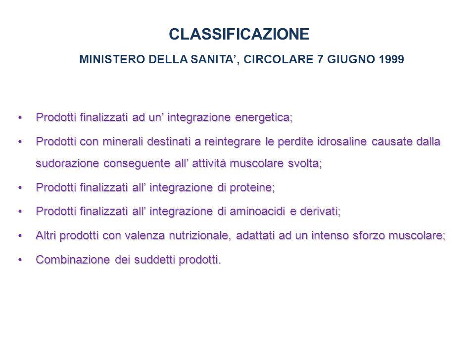 CLASSIFICAZIONE MINISTERO DELLA SANITA', CIRCOLARE 7 GIUGNO 1999