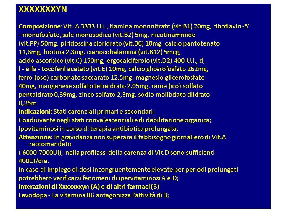 XXXXXXXYN Composizione: Vit..A 3333 U.I., tiamina mononitrato (vit.B1) 20mg, riboflavin -5'