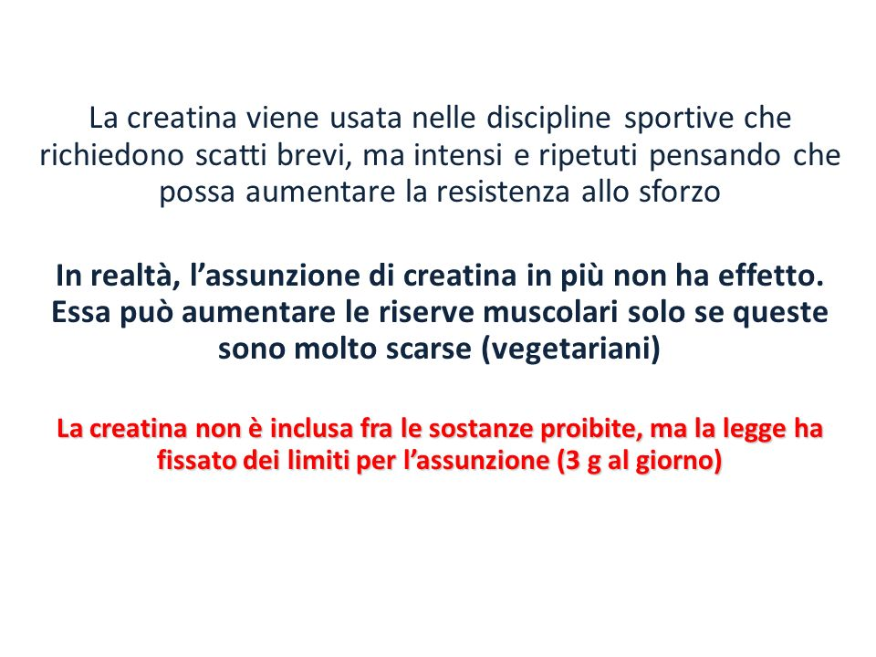 La creatina viene usata nelle discipline sportive che richiedono scatti brevi, ma intensi e ripetuti pensando che possa aumentare la resistenza allo sforzo