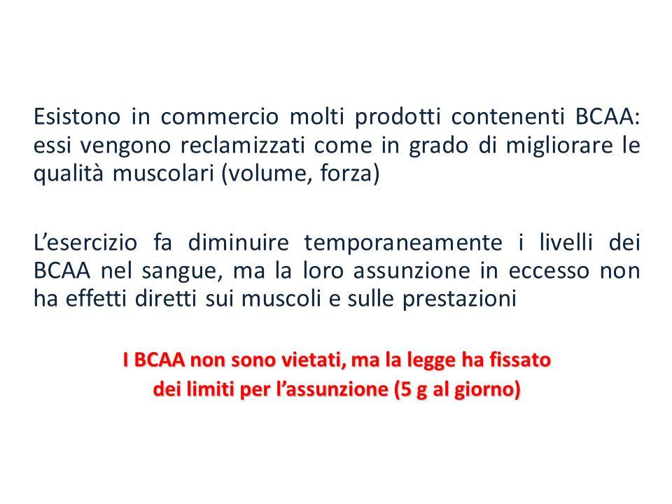 Esistono in commercio molti prodotti contenenti BCAA: essi vengono reclamizzati come in grado di migliorare le qualità muscolari (volume, forza)