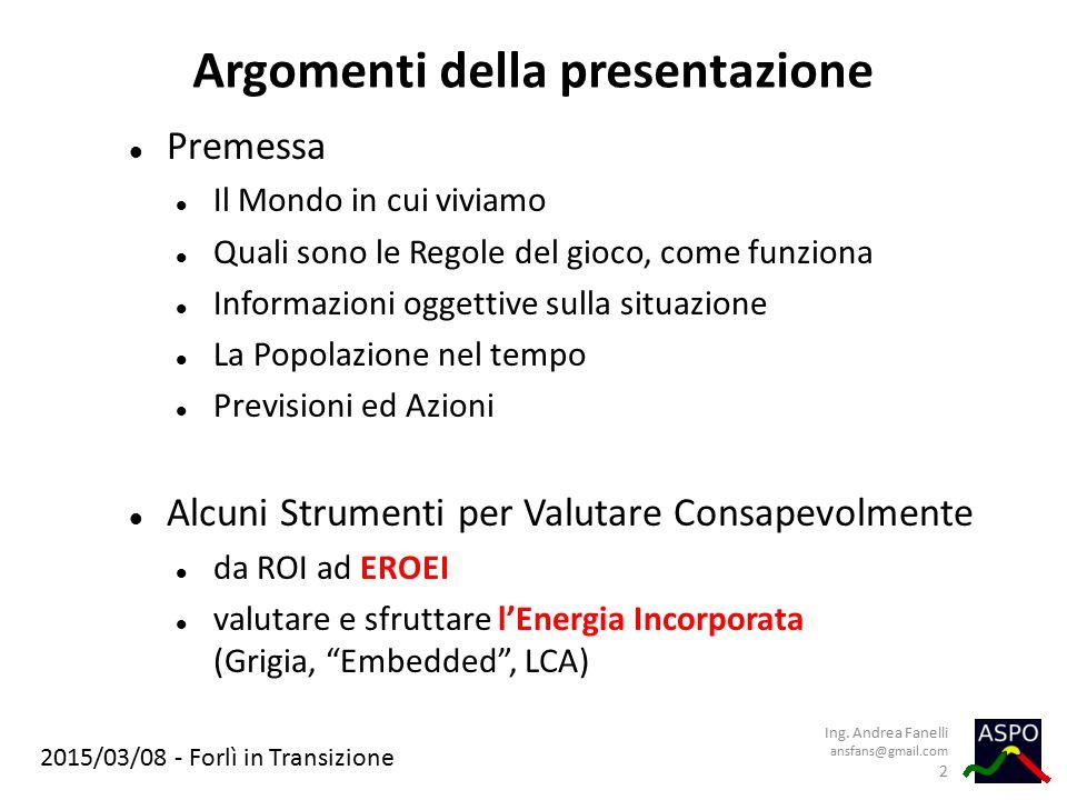 Argomenti della presentazione