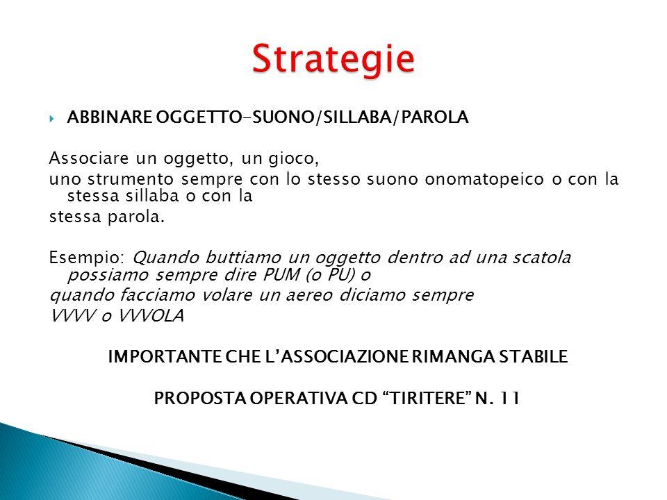 Strategie ABBINARE OGGETTO-SUONO/SILLABA/PAROLA