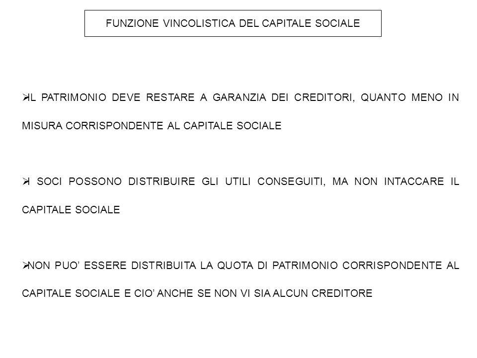 FUNZIONE VINCOLISTICA DEL CAPITALE SOCIALE