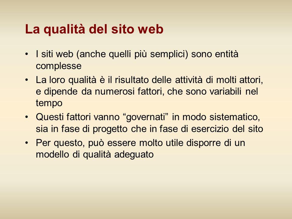 La qualità del sito web I siti web (anche quelli più semplici) sono entità complesse.