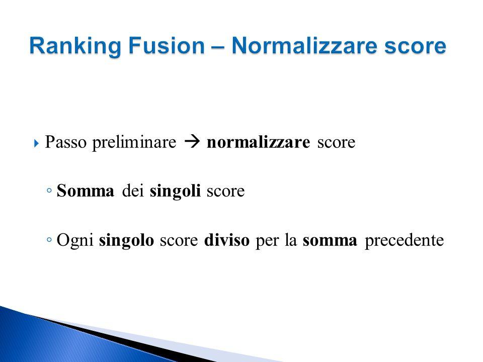 Ranking Fusion – Normalizzare score