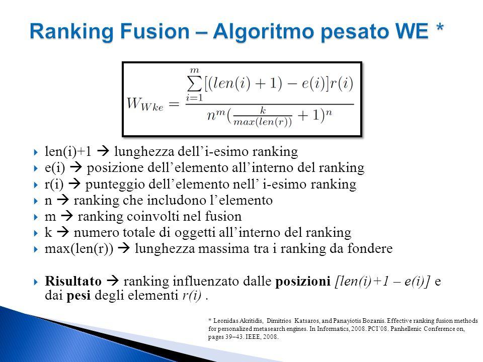 Ranking Fusion – Algoritmo pesato WE *