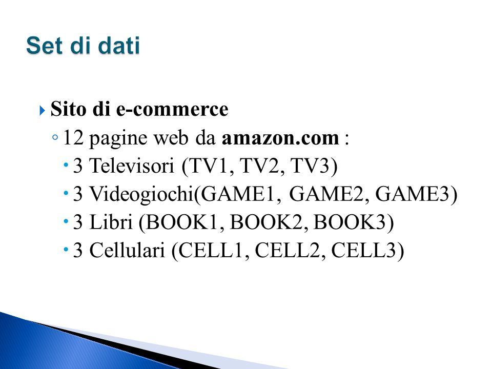 Set di dati Sito di e-commerce 12 pagine web da amazon.com :