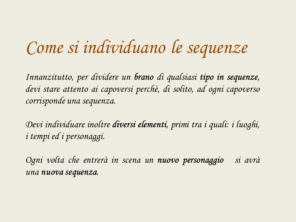 Come si individuano le sequenze