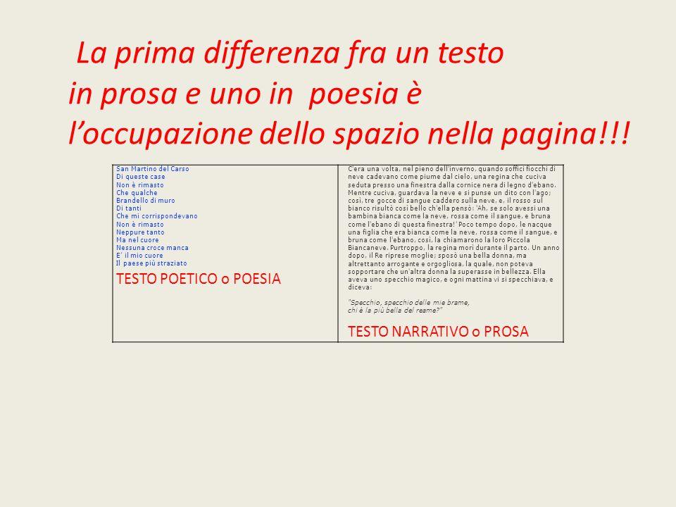 La prima differenza fra un testo in prosa e uno in poesia è