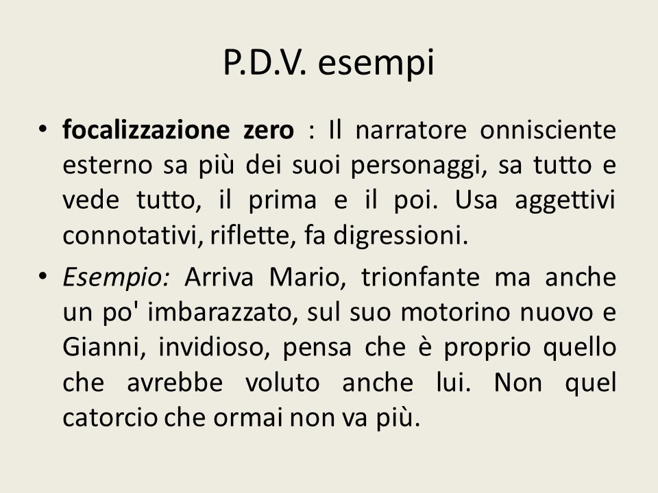 P.D.V. esempi