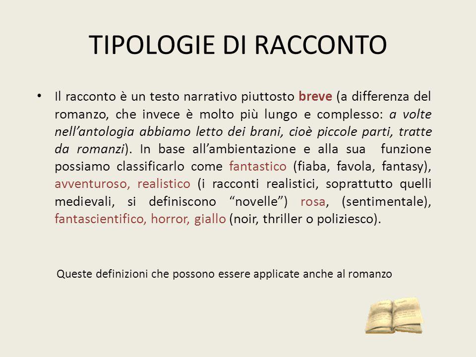 TIPOLOGIE DI RACCONTO