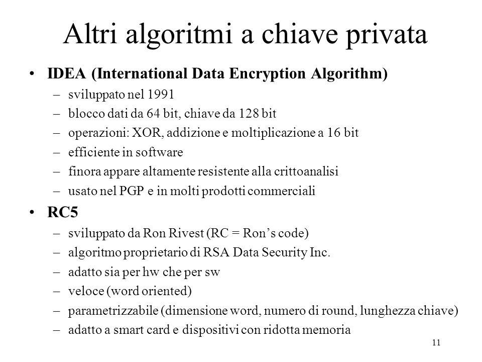 Altri algoritmi a chiave privata