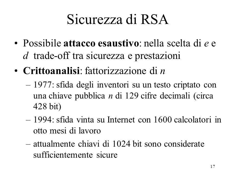 Sicurezza di RSA Possibile attacco esaustivo: nella scelta di e e d trade-off tra sicurezza e prestazioni.