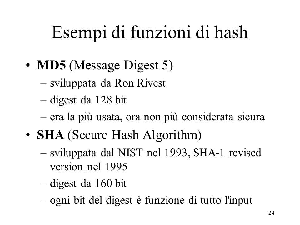 Esempi di funzioni di hash