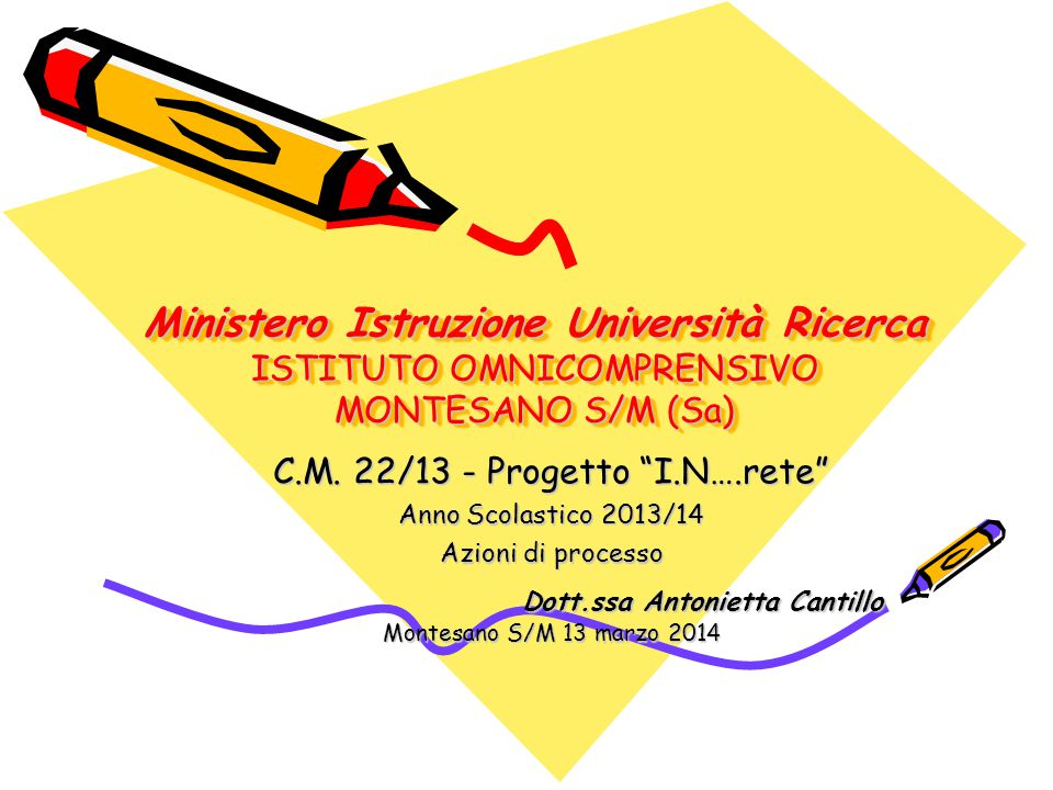 Ministero Istruzione Università Ricerca ISTITUTO OMNICOMPRENSIVO MONTESANO S/M (Sa)