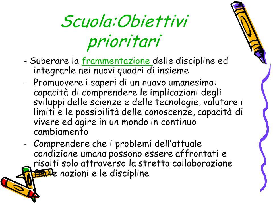 Scuola:Obiettivi prioritari