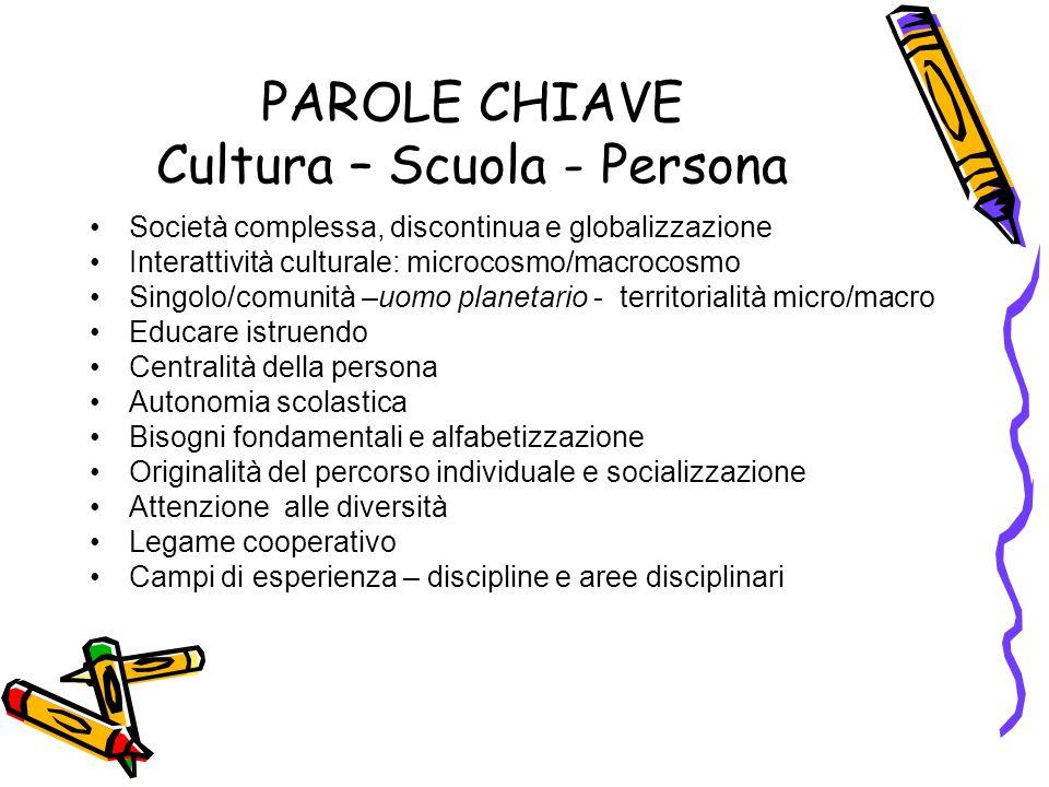 PAROLE CHIAVE Cultura – Scuola - Persona