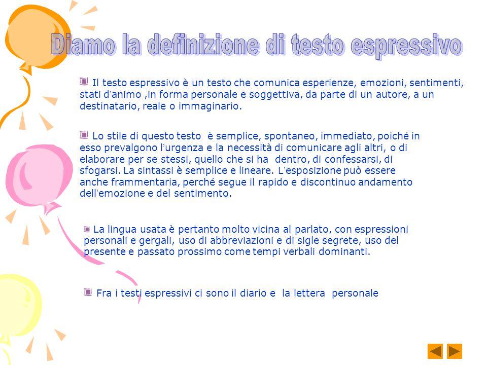 Diamo la definizione di testo espressivo