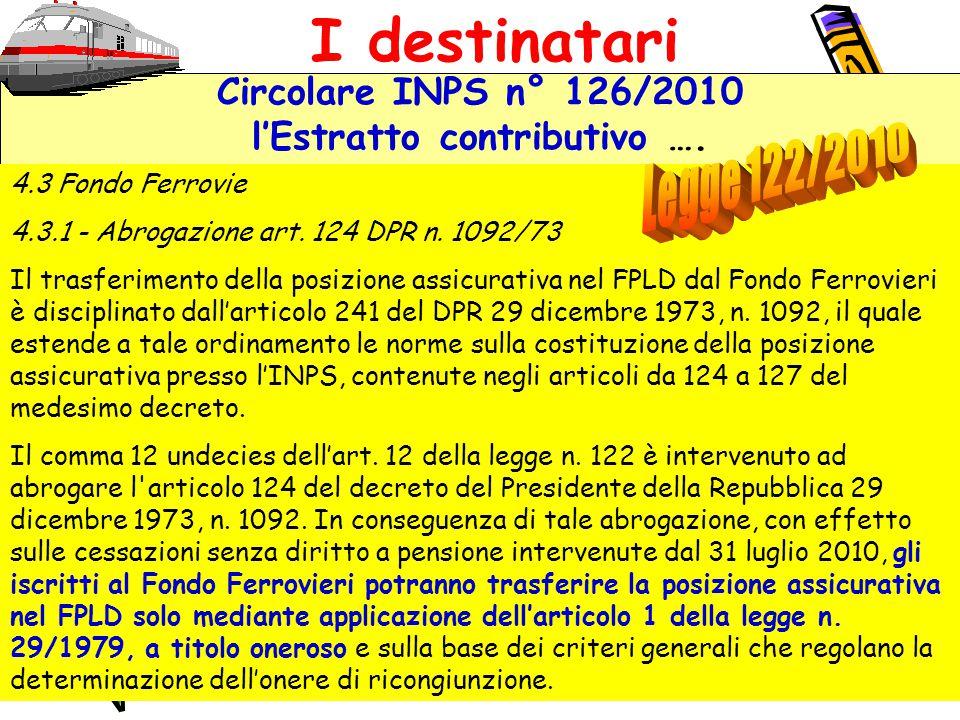 Circolare INPS n° 126/2010 l'Estratto contributivo ….