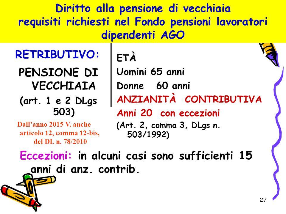Diritto alla pensione di vecchiaia