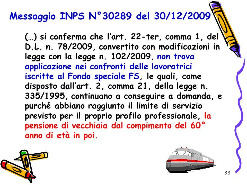 Messaggio INPS N°30289 del 30/12/2009