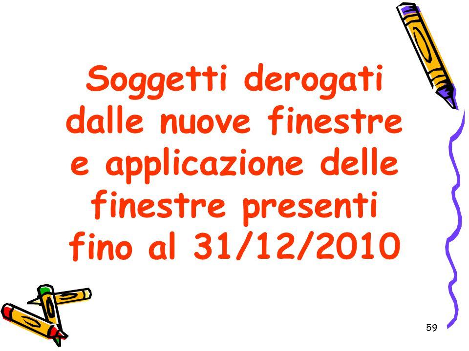 Soggetti derogati dalle nuove finestre e applicazione delle finestre presenti fino al 31/12/2010