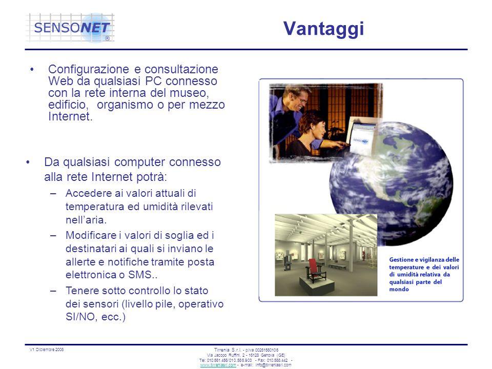 Vantaggi Configurazione e consultazione Web da qualsiasi PC connesso con la rete interna del museo, edificio, organismo o per mezzo Internet.