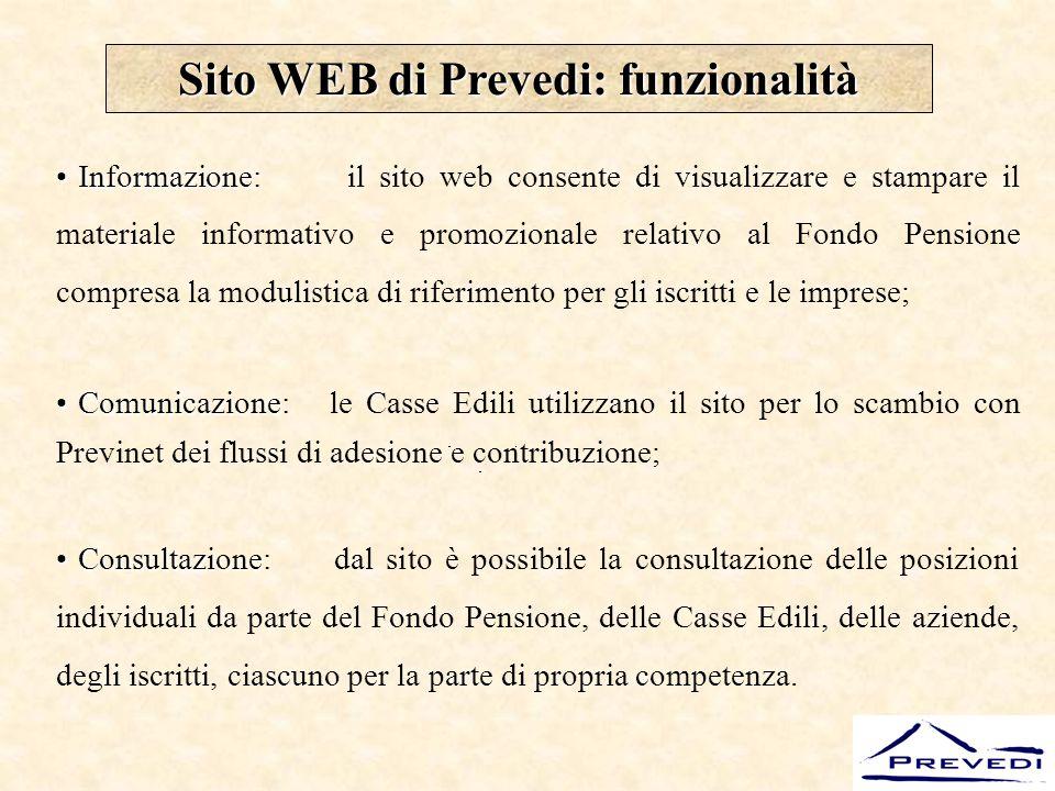 Sito WEB di Prevedi: funzionalità