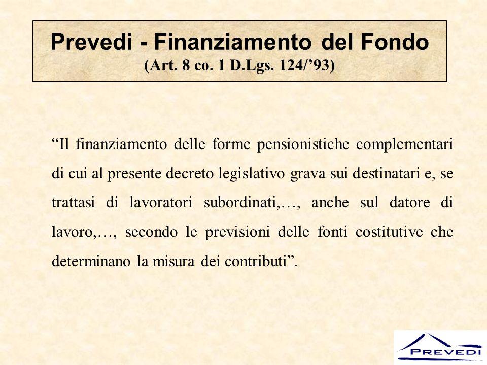 Prevedi - Finanziamento del Fondo (Art. 8 co. 1 D.Lgs. 124/'93)