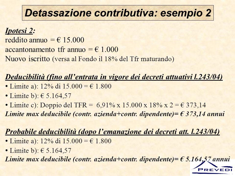 Detassazione contributiva: esempio 2