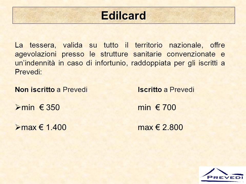 Edilcard min € 350 min € 700 max € 1.400 max € 2.800
