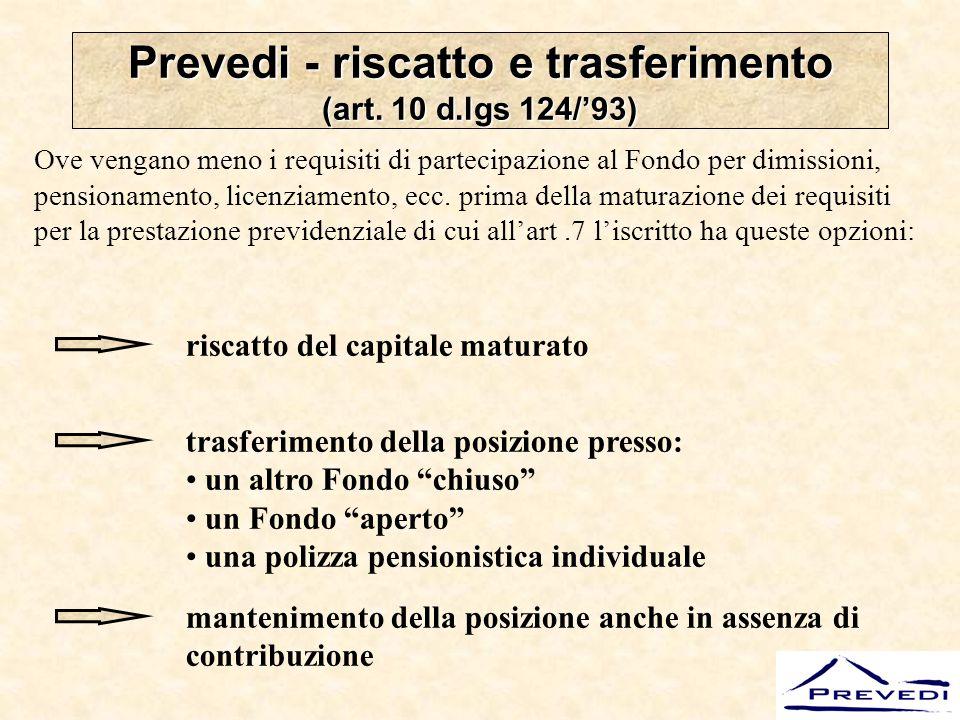 Prevedi - riscatto e trasferimento (art. 10 d.lgs 124/'93)
