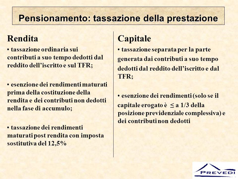 Pensionamento: tassazione della prestazione