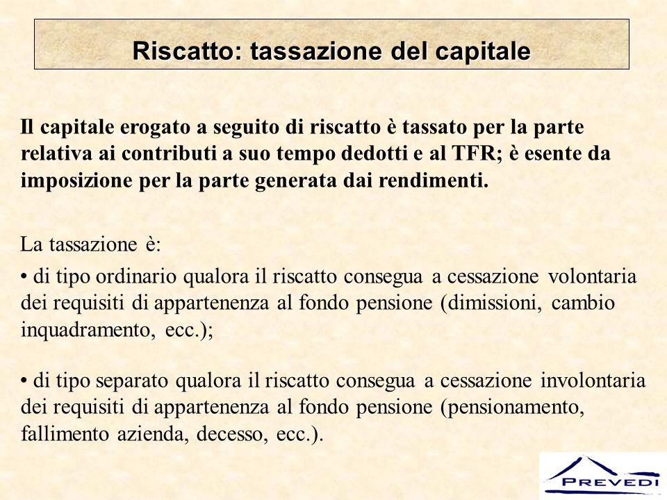 Riscatto: tassazione del capitale
