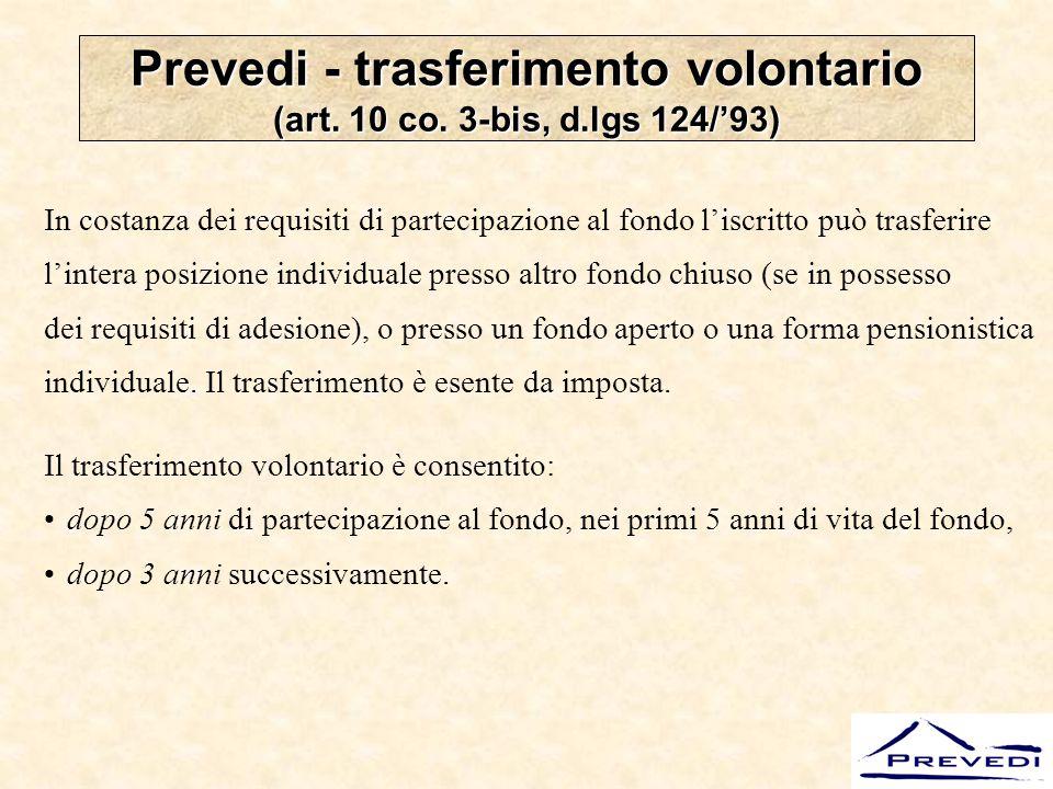 Prevedi - trasferimento volontario (art. 10 co. 3-bis, d.lgs 124/'93)