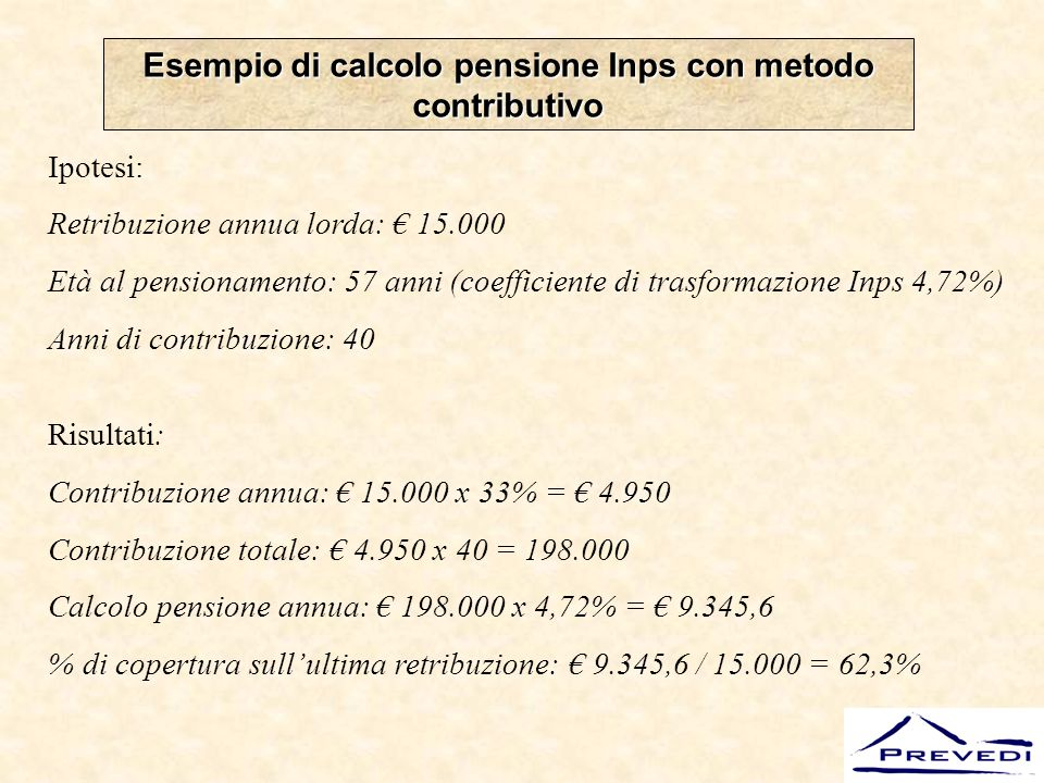 Esempio di calcolo pensione Inps con metodo contributivo