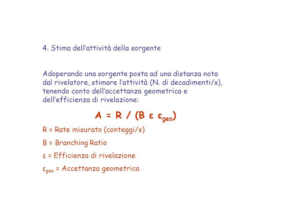 A = R / (B ε εgeo) 4. Stima dell'attività della sorgente
