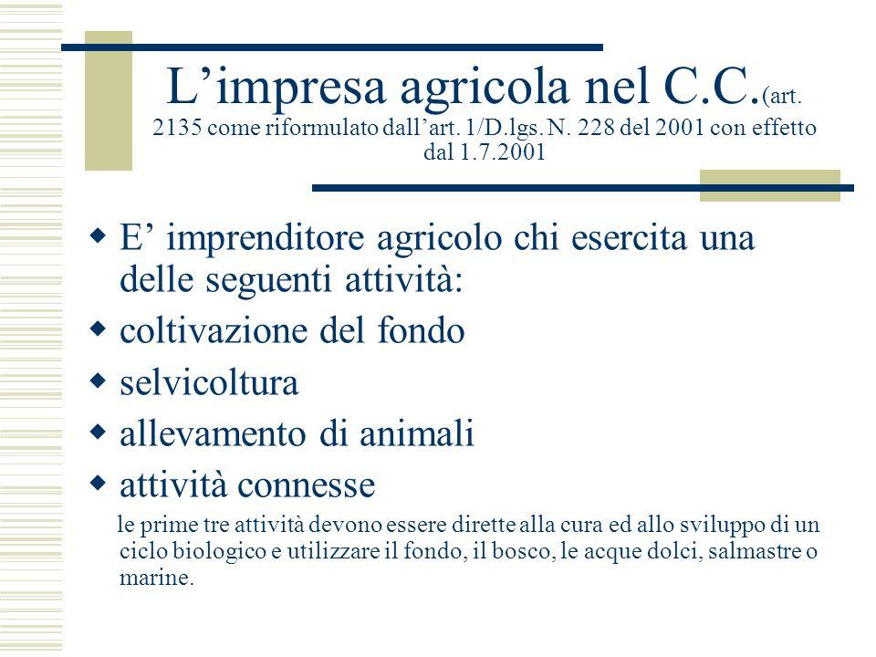 L'impresa agricola nel C. C. (art. 2135 come riformulato dall'art. 1/D