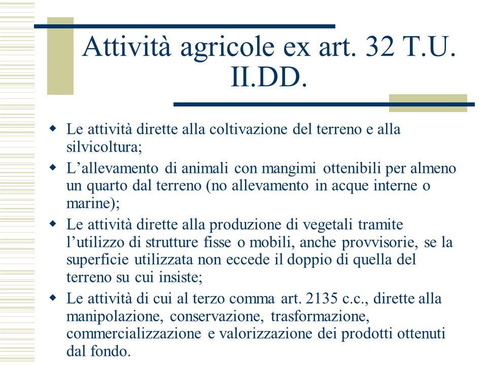 Attività agricole ex art. 32 T.U. II.DD.