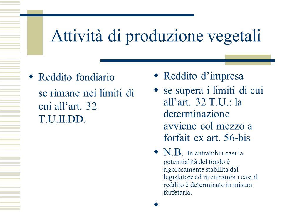 Attività di produzione vegetali